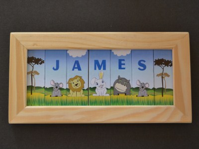 Name plaques personalised gifts ennis clare ireland name in a frame 7 spaces negle Images