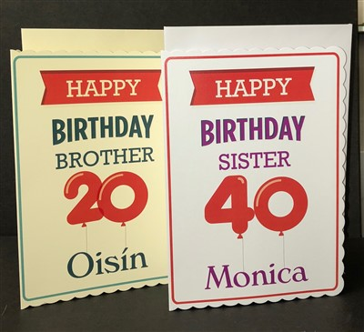 Scalloped Edged Retro Birthday Card