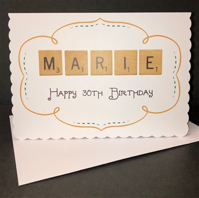 Scalloped Edged Scrabble Birthday Card Personalised Birthday Card