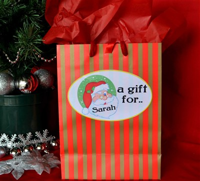 Personalised christmas gift bags personalised gifts ennis clare luxury striped personalised christmas gift bag negle Image collections